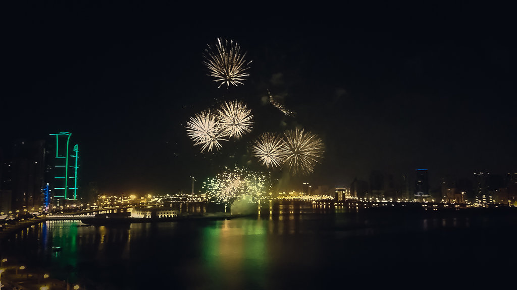 Eid Ul Fitr Fireworks over the Buheirah Sharjah in  Corniche